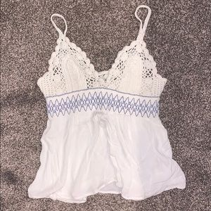 Free People White and Blue Crochet Flowy Tank